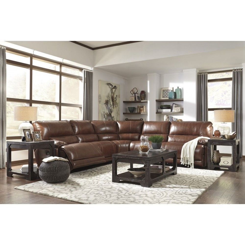 Ashley Furniture Kalel Power Recliner Sectional In Saddle