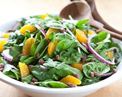 Spinach Salad with Aduki Beans and Tangerine Vinaigrette Recipe