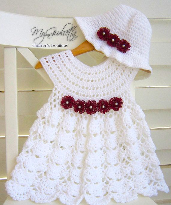 Crochet Baby Dress, Crochet Baby Skirt, Communion Set, Cute Dress ...