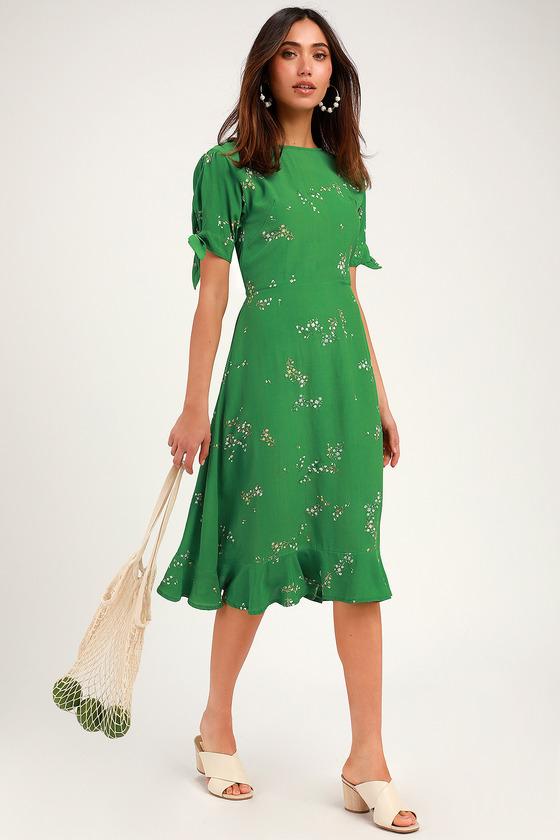 Beste Ad: Emilia Green Floral Print Midi Dress.   Lulus   Faithfull the AW-05