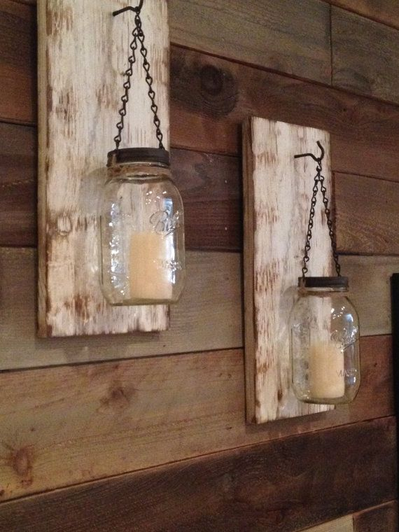 Rustic Mason Jar Wall Sconce/Rustic White by BCIndustrialTreasure Wall decor Pinterest ...