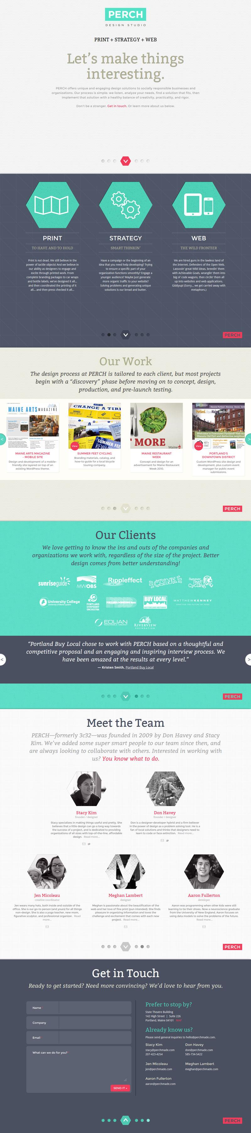 Perch Design Studio Flat Web Design Design Studio Website Inspiration