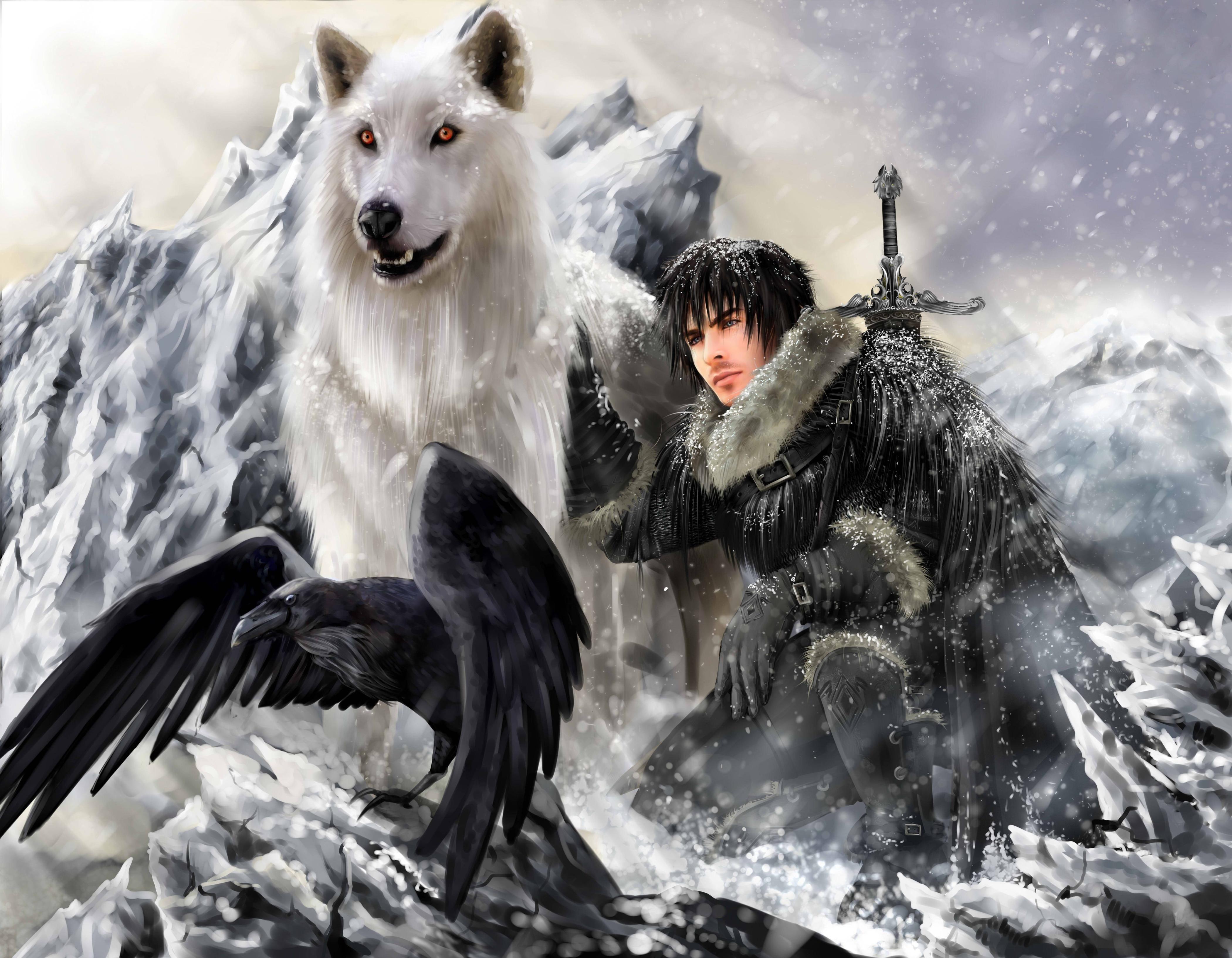 Download wallpaper fantasy, wolf, Warrior, raven free