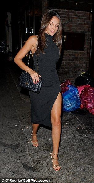 michelle keegan in black thighsplit dress on tipsy date