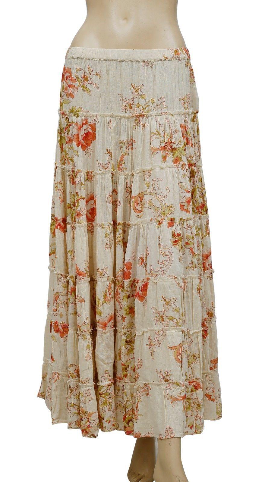 4ccb44a42e 150048 NEW Denim & Supply Ralph Lauren Floral Printed Tiered Long Maxi Skirt  XXS | eBay