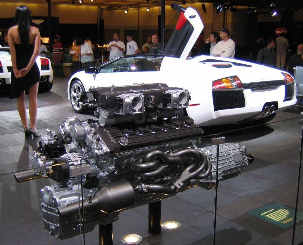 Lamborghini emgine | Description Lamborghini Murciélago with engine ...