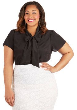 Work Appropriate - Tie for First Top in Black - Plus Size