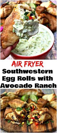 Air Fryer Vegetarian Southwestern Egg Rolls with Avocado Ranch is a quick and easy healthy recipe that rivals Chili's Southwestern Egg Rolls Recipe. These crispy, crunchy rolls are loaded with black beans, corn, diced tomatoes, red onions, and cilantro. The creamy dipping sauce is loaded with flavor! #AirFryer #AirFryerRecipes #EggRolls #TexMex #eggrolls
