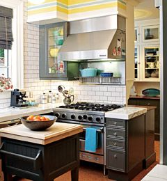 I love the lok fo subway tile in the kitchen, and this is a really cool idea to make the best of your soffit