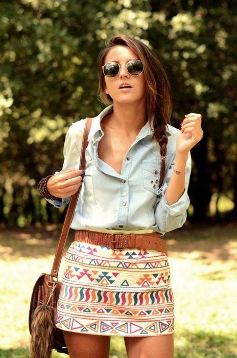 denim shirt and print skirt
