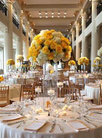 Yellow roses and white hydrangea tall centerpieces reception florist yellow roses and white hydrangea tall centerpieces reception florist perla farms wedding flowers junglespirit Image collections
