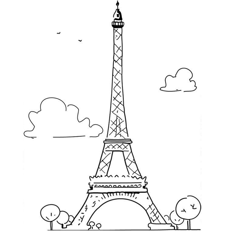 13 Petite Coloriage tour Eiffel Stock | Torre eiffel, Dibujos de paris, Torres