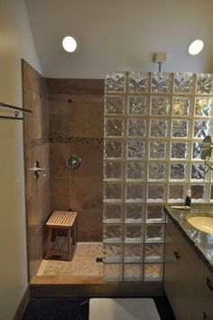 Bathroom showers without glass google search dream for Glass bricks designs