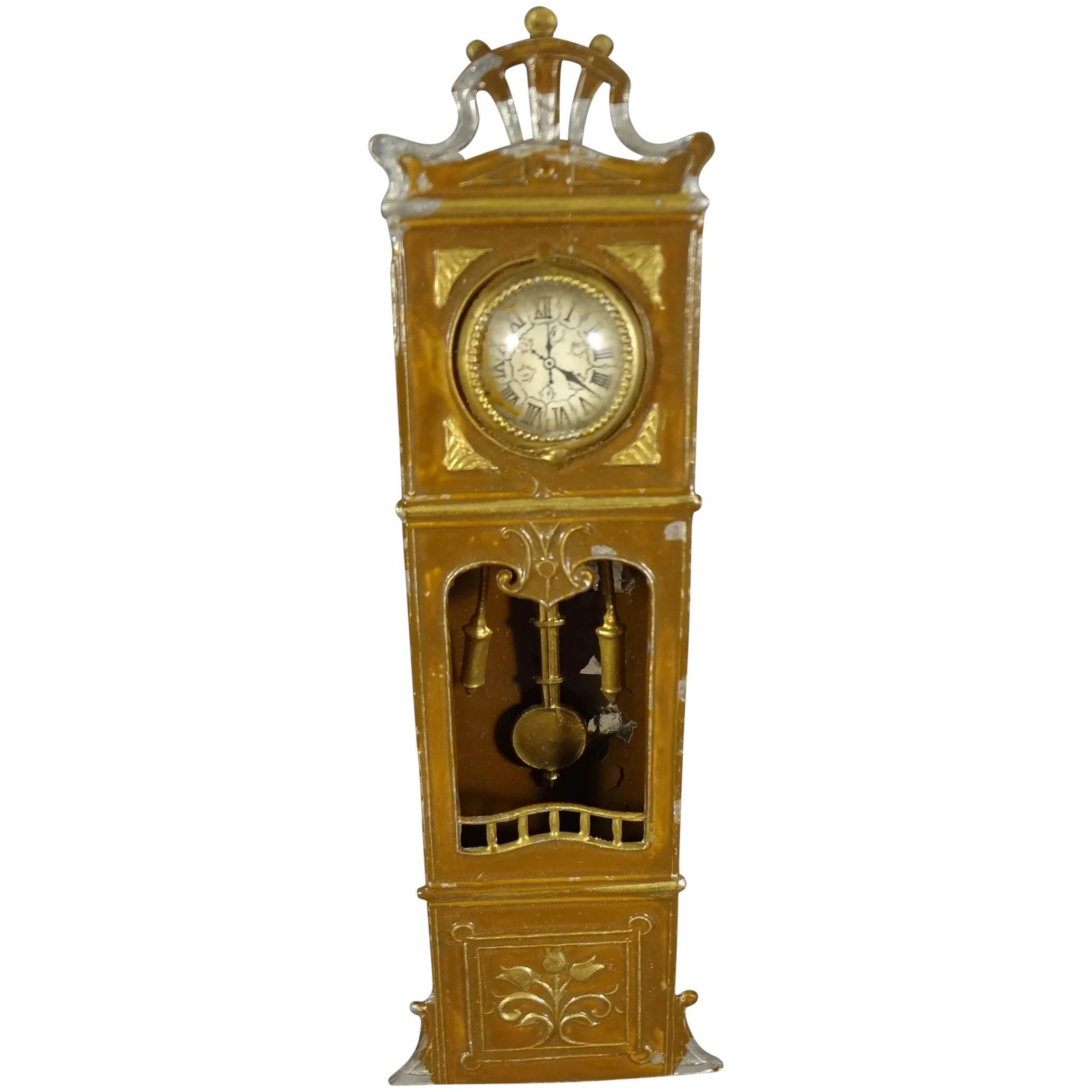 Doll House Tin Painted Tall Case Clock with Pendulum,  #case #Clock #doll #Dollhousesvintage #house #Painted #Pendulum #Tall #Tin