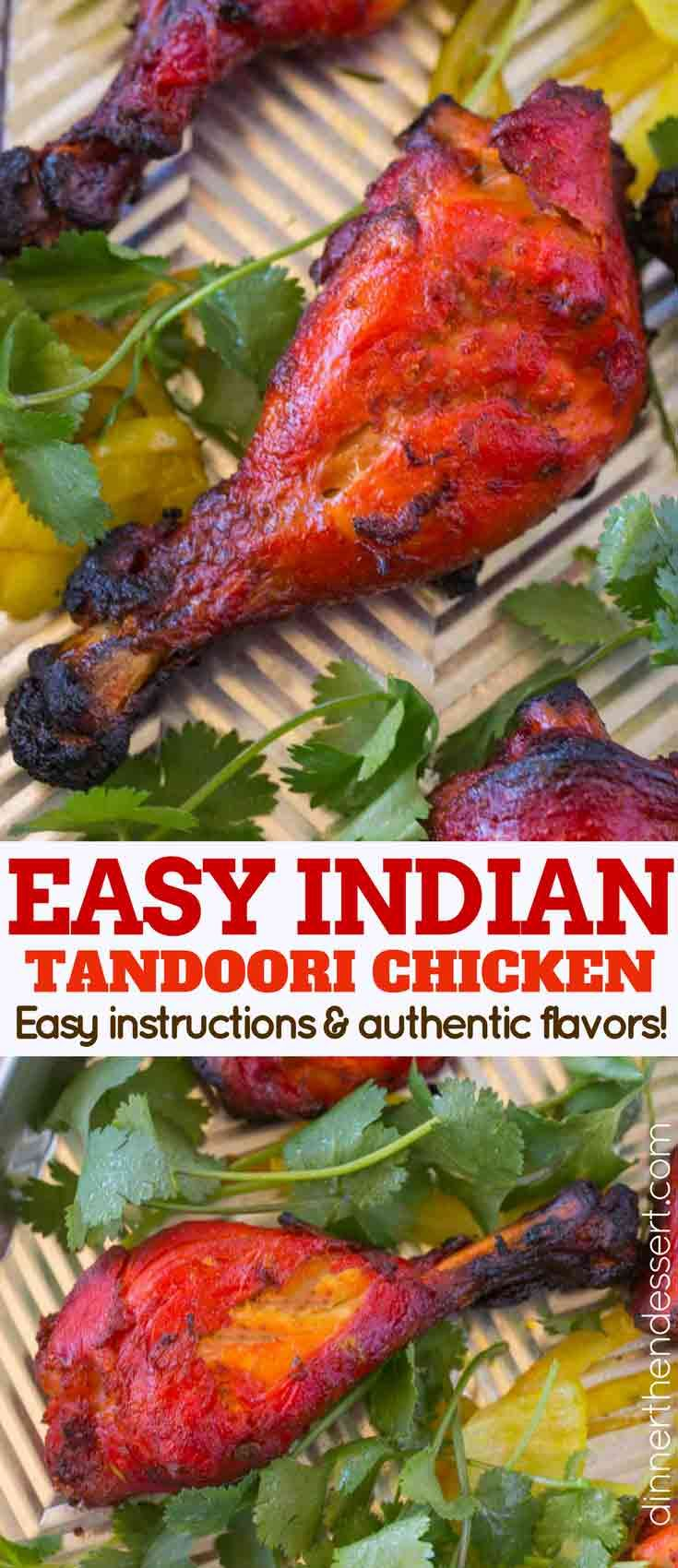 title=Tandoori Chicken is a classic Indian recipe that is marinaded in yogurt, garam masala, cayenne pepper and garlic before being baked in an oven. We make it easy enough to cook during the week and use chicken legs for easy, quick cooking. | #indianfood #indianrecipes #indianchickenrecipes #dinnerthendessert #tandoorichicken #chickentandoori #easyindianfood #tandoorispices #tandoorimarinade #grilledchicken #tandoorichicken