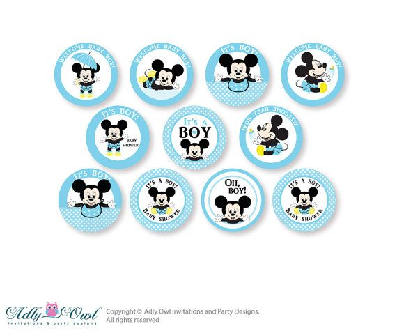 Cake Toppers Baby Mickey : Boy Mickey Mouse Cupcake Toppers for Baby by ...