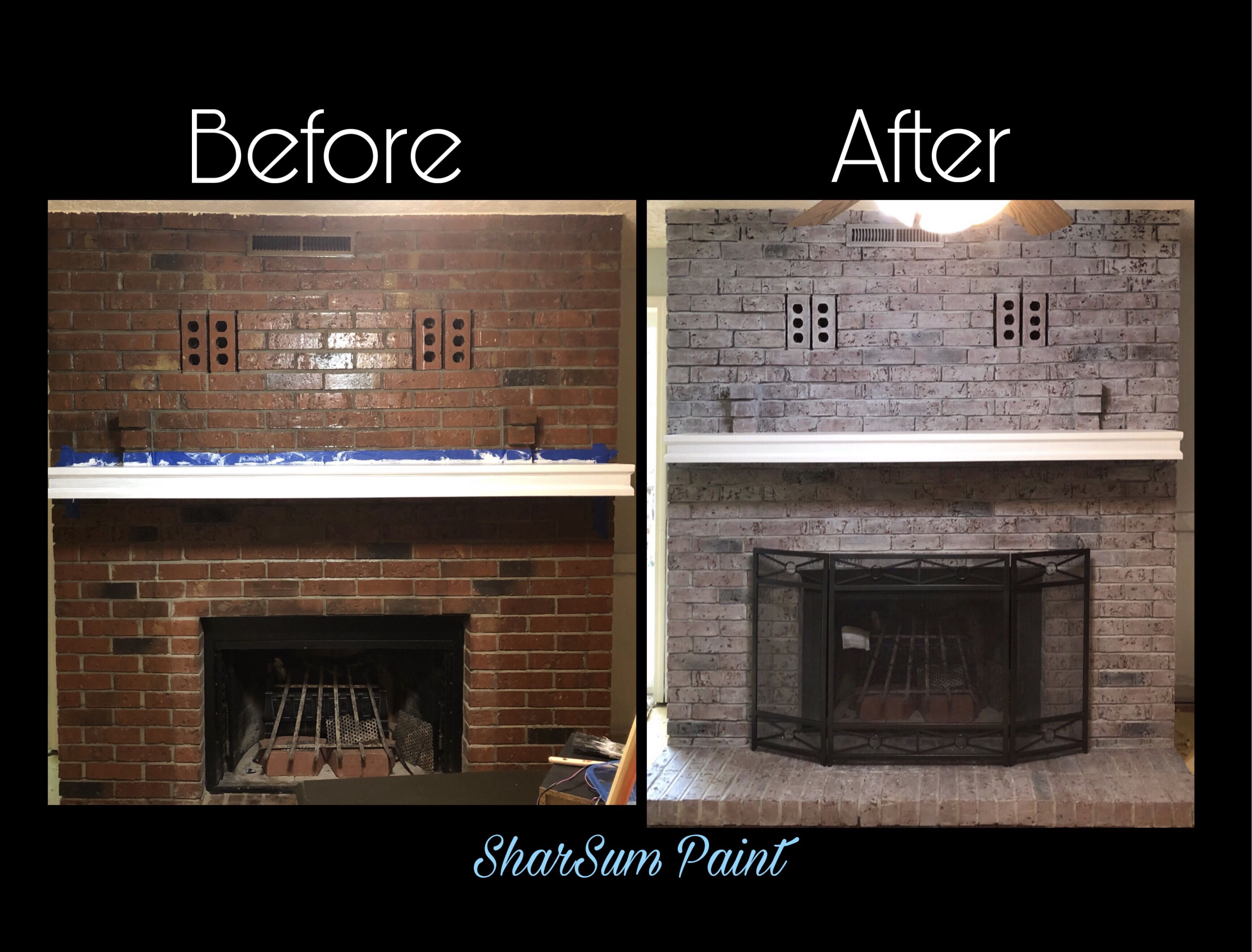 An Updated Look To An Outdated Red Brick Fireplace Red Brick Fireplaces Brick Fireplace Painted Brick Fireplaces