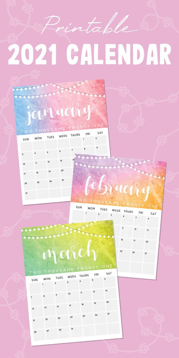 Printable 2021 Calendar in 2020   2021 calendar, Monthly ...