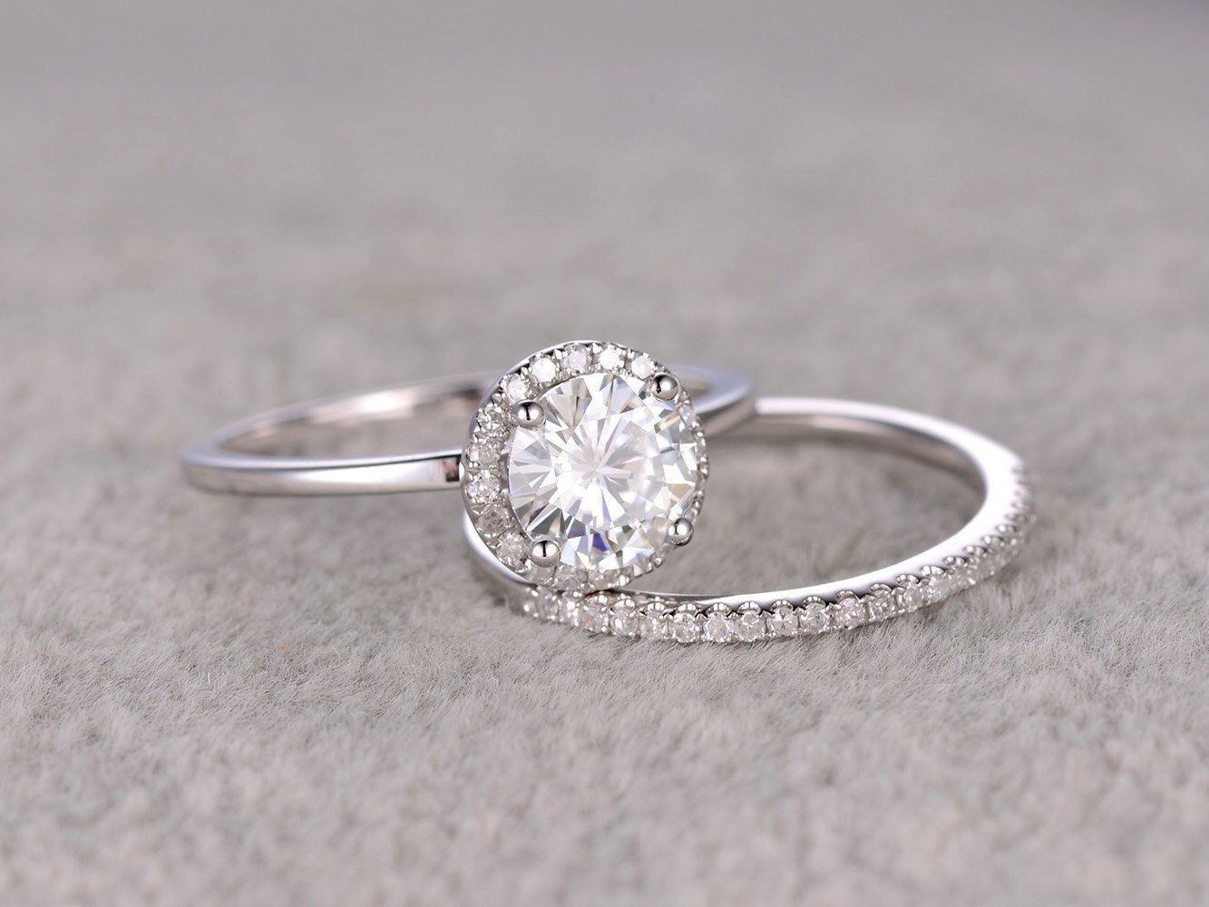 2pcs 1ct Moissanite Bridal Ring SetEngagement White Plain GoldUltra Thin Diamond