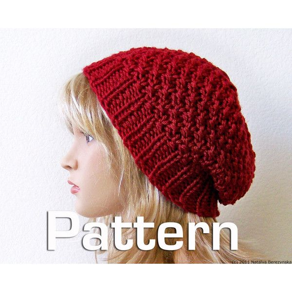 Knitting Pattern Knit Hat Pattern Slouchy Hat Pattern Slouchy
