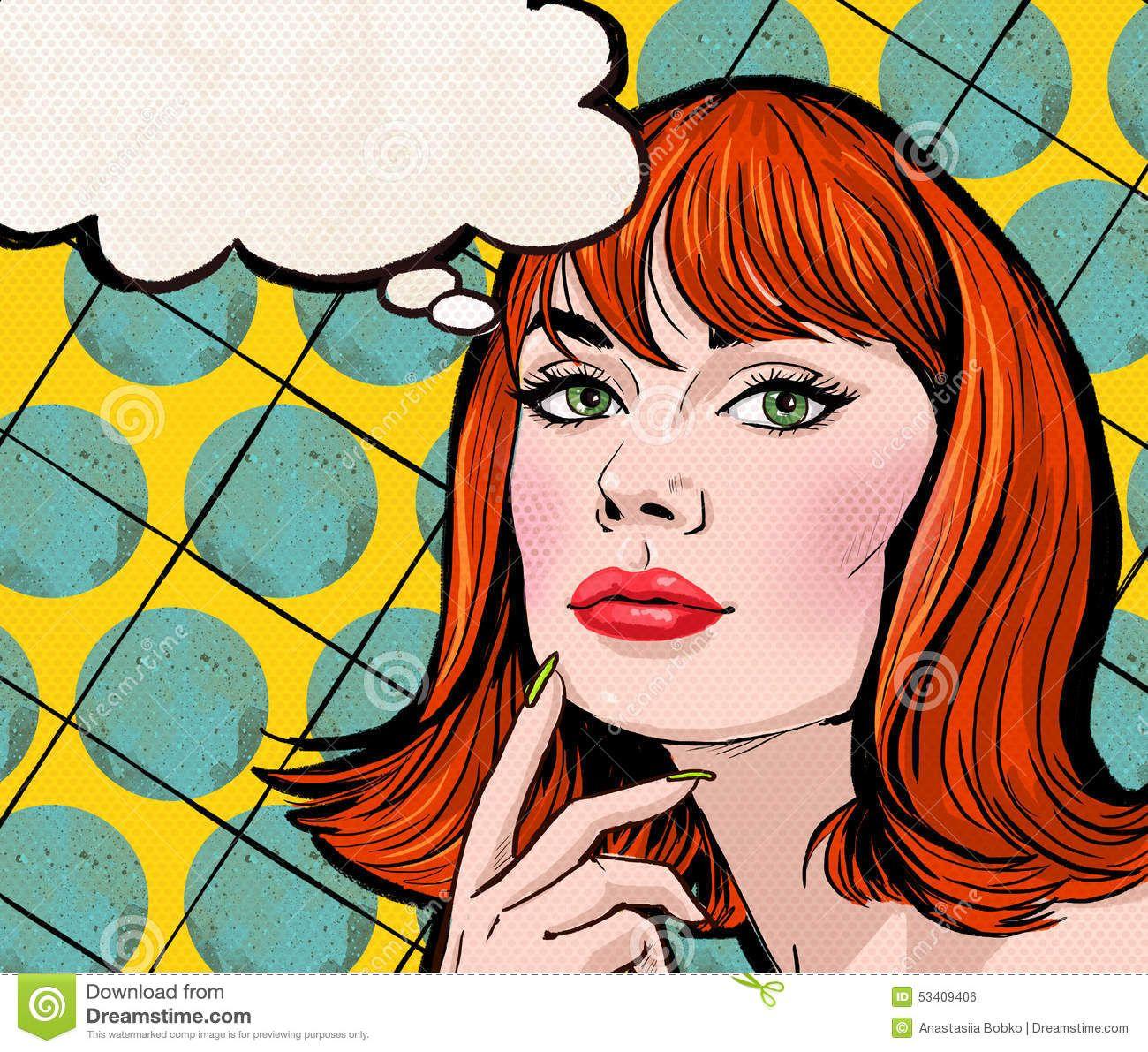 Pop Art Illustration Of Girl With The Speech Bubble.Pop Art Girl ...