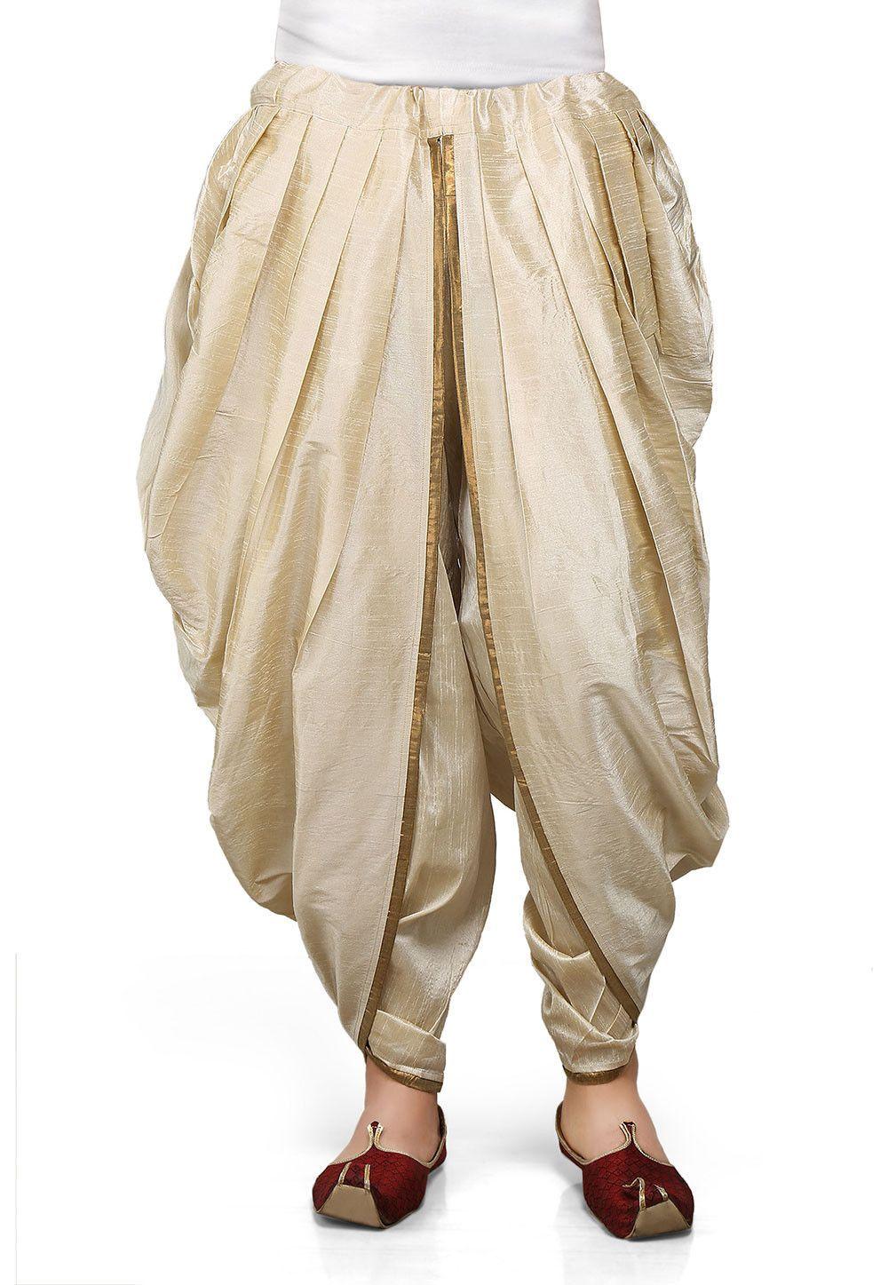 Dupion silk dhoti in light beige 着物 pinterest fashion