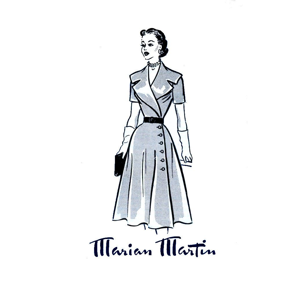 1950s Dress Pattern Marian Martin 9296 Misses Portrait Collar Day or Evening Coat Dress Womens Vintage Mail Order Sewing Pattern Bust 32. $38.00, via Etsy.