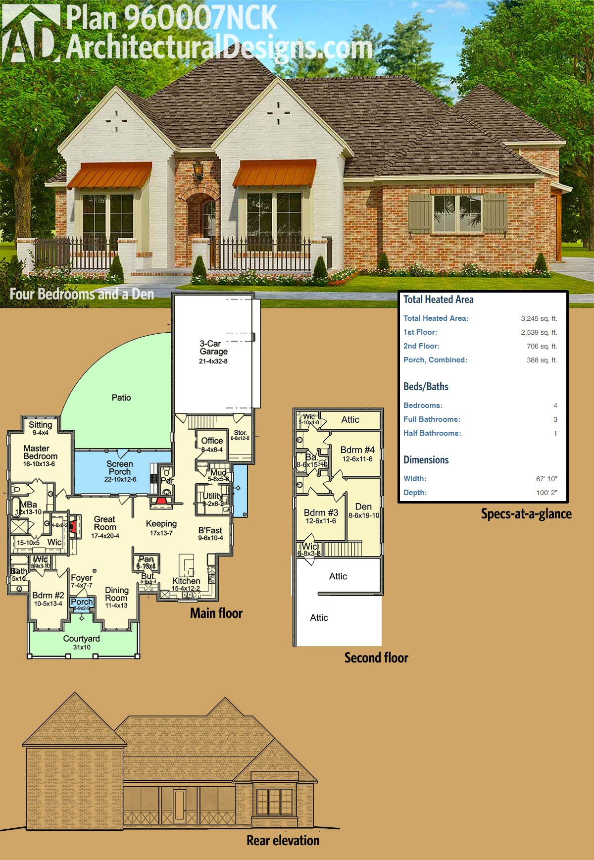 Plan 960007nck Four Bedrooms And A Den French Country House Plans Country House Plans House Layout Plans