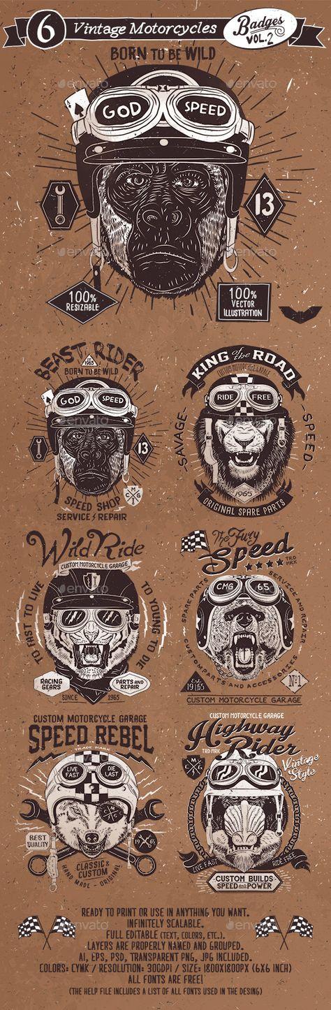 6 Vintage Motorcycles Badges Vol 2 Badges Stickers Web Elements Vintage Motorcycles Cafe Racer Bike Art
