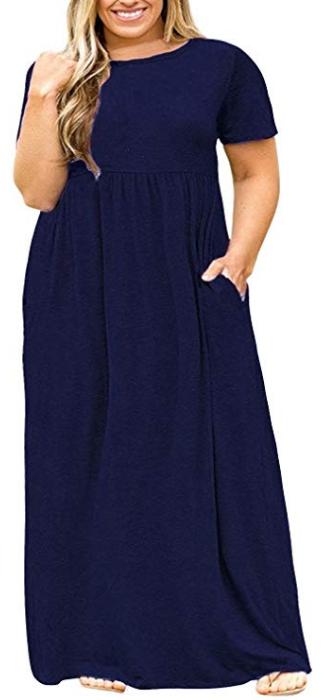 4347f88d890d3 POSESHE Women's Plus Size Tunic Swing T-Shirt Dress Long Sleeve Maxi Dress  with Pockets