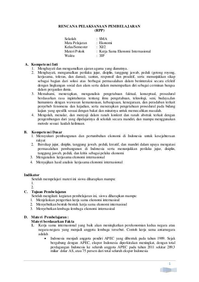 1 Rencana Pelaksanaan Pembelajaran Rpp Sekolah Sma Mata Pelajaran Ekonomi Kelas Semester Xi 2 Materi Pokok Kerja Belajar Kurikulum Guru