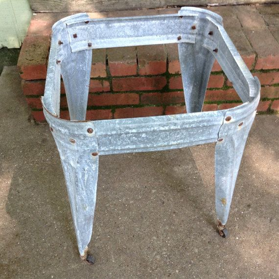 Vintage Galvanized Wash Tub Stand with Casters, Primitive, Square Stand  with Wheels Great Condition