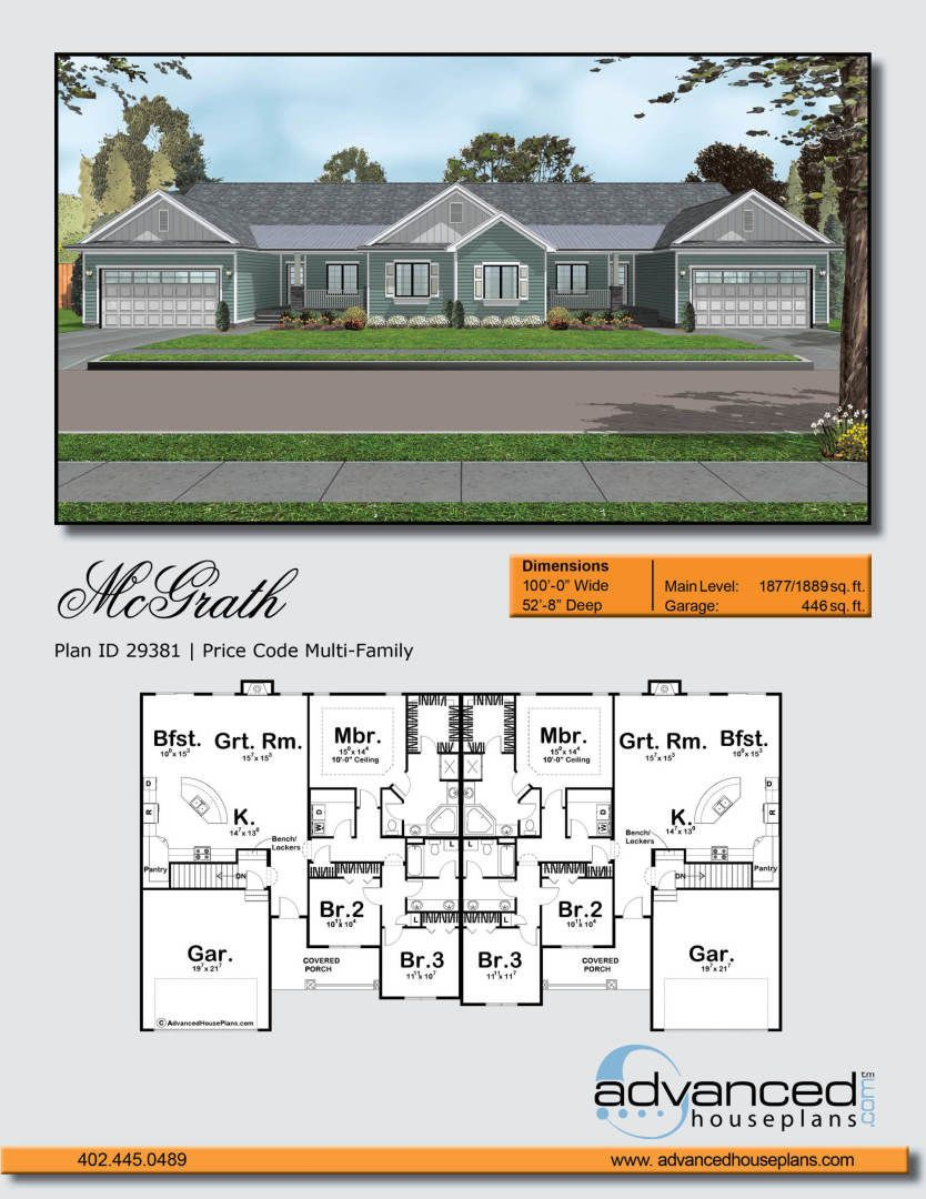 1 Story Multi Family Traditional House Plan Mcgrath House Plans Family House Plans Traditional House Plan