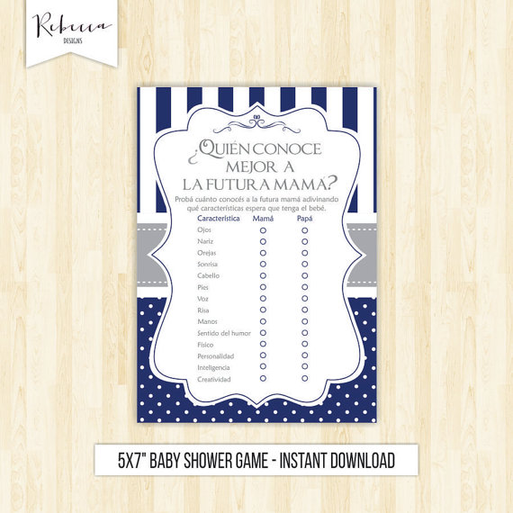 Spanish Baby Shower Game In Spanish Who Knows Mommy Best Espaol