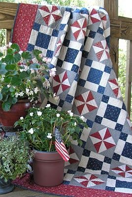 Deck decor on the 4th of July.  Medium grey background makes whites and colors pop.