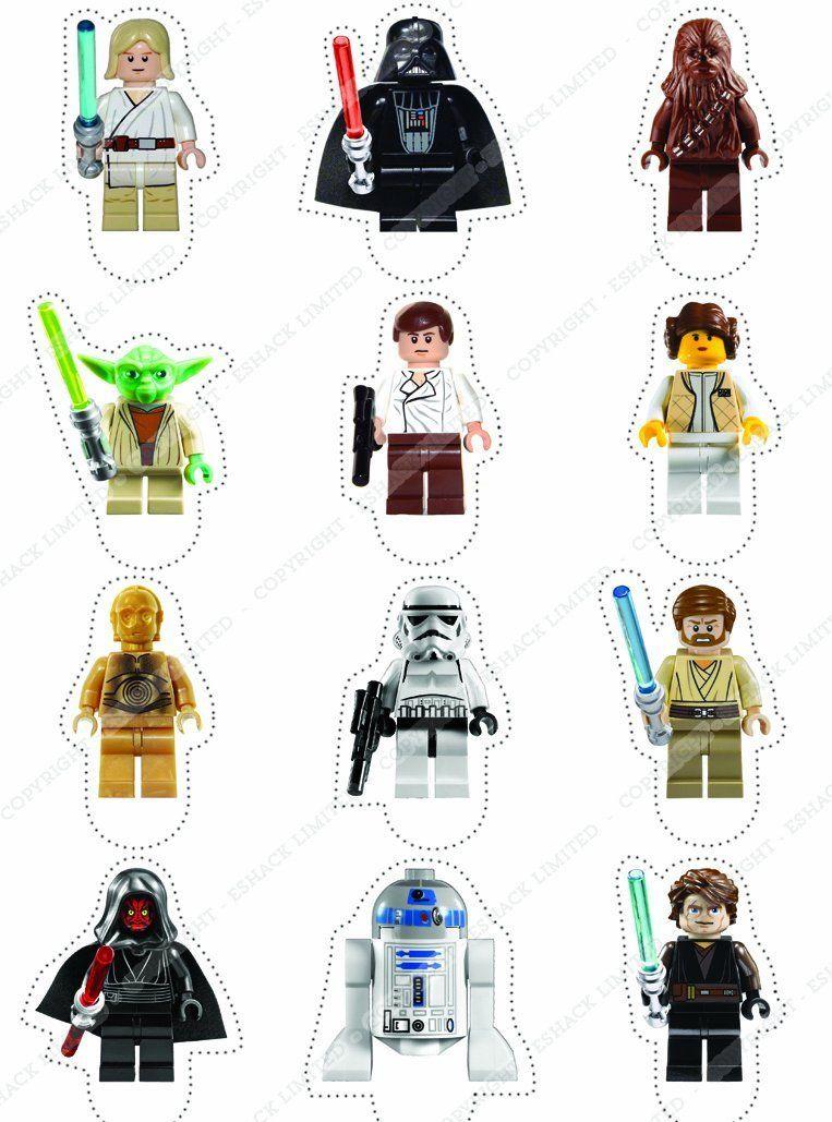 Cakeshop 12 x VORGESCHNITTENE UND ESSBARE aufstehen Lego Star Wars ...