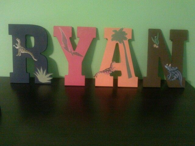 Dinosaur theme wooden letters for my sons room :-)