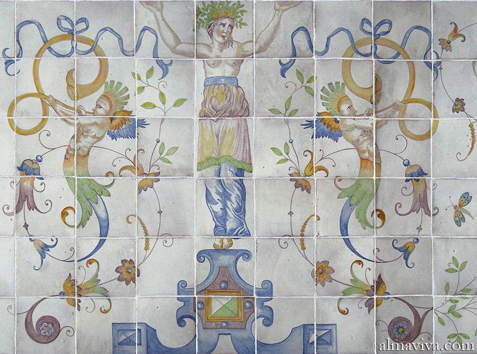 Panneau de majolique peint par l 39 atelier almaviva d 39 apr s Peindre de la faience