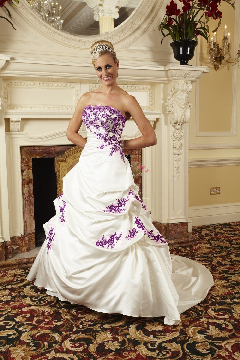 can you see this bride walking on the beach over a purple