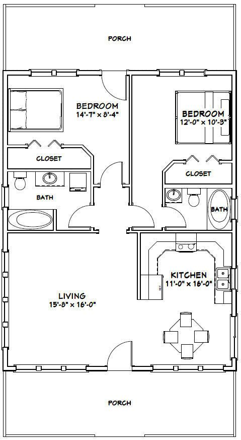 28x36 House 2 Bedroom 2 Bath Plan 1 008 Sq Ft Small House Floor Plans Tiny House Floor Plans House Plans