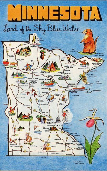 Vintage State Map Postcards Minnesota State Map Vintage Chrome - Minn map