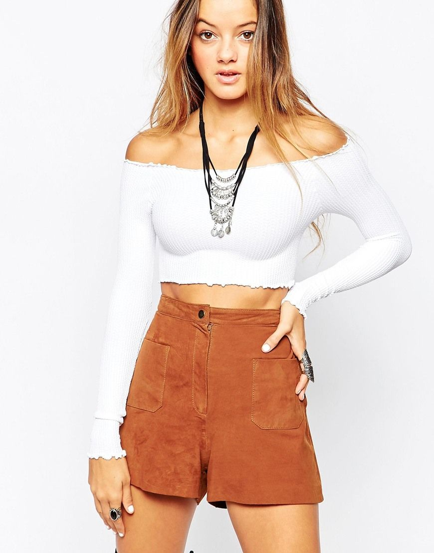 5cc7b6693c8bd3 Free People Seamless Off The Shoulder Crop In White