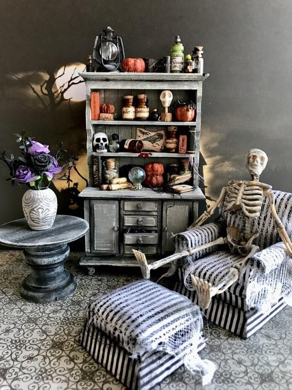 Miniature Halloween furniture, 1:12 scale witch cupboard, artisan miniatures