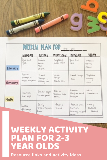 Weekly Activity Plan For 2 3 Year Olds