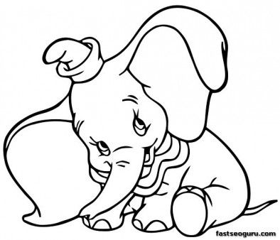 Printable coloring pages Dumbo Shy Disney Characters  Printable
