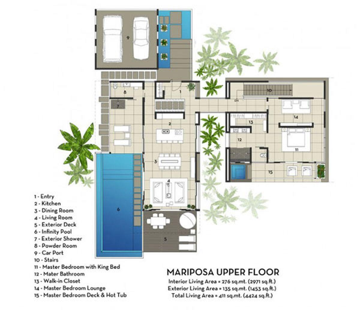 Contemporary mariposa villa with stunning ocean views for Planos de piscinas pequenas
