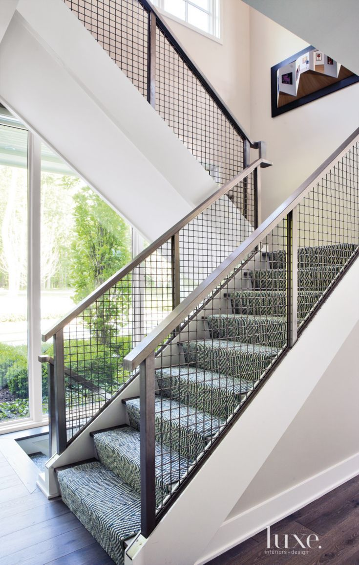 Best Contemporary White Staircase With Patterned Runner Stair 400 x 300