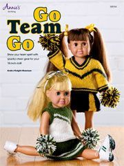 Knit...it's easy to show some team spirit with these adorable cheerleaders  Outfits for 18 inch doll. Included are 2 doll outfits, each has a top skirt and A set of Pom poms. #18inchcheerleaderclothes Knit...it's easy to show some team spirit with these adorable cheerleaders  Outfits for 18 inch doll. Included are 2 doll outfits, each has a top skirt and A set of Pom poms. #18inchcheerleaderclothes