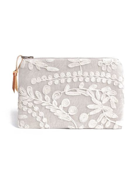 Linen and Lace zip clutch purse #handmade #buydesignerclutchesonline #germany #fashion #style #india