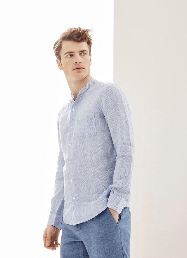 320c3b55da Camisa de lino con estampado rayas